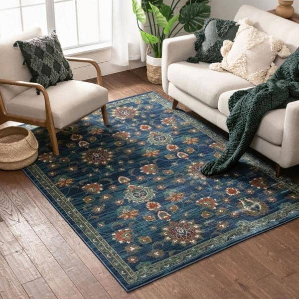 Well Woven Tulsa Arya Traditional Vintage Oriental Blue 3 Ft 11 In X 5 Ft 3 In Area Rug Tu 74 4 The Home Depot