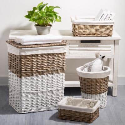 Natural/White Wicker Laundry Baskets with Lining (Set of 4)