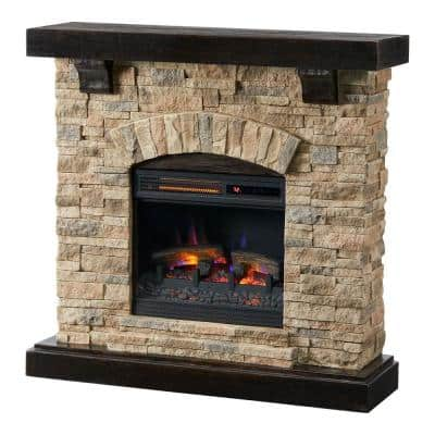 Pembroke 40 in. Freestanding Faux Stone Infrared Electric Fireplace in Tan with Mantel