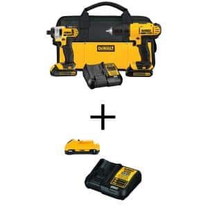 20-Volt MAX Cordless Drill/Impact Combo Kit (2-Tool) with (2) 20-Volt 1.3Ah Batteries, (1) 3.0Ah Battery, Charger & Bag