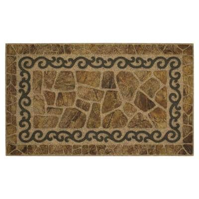 Scroll and Stone 18 in. x 30 in. Ornamental Entry Mat