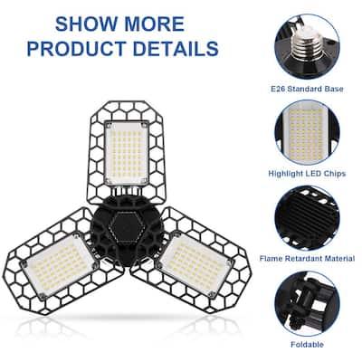 600-Watt Equivalent Black Deformable LED Adjustable Garage Light, 7200LM, 3-Leaf 6000K Daylight White