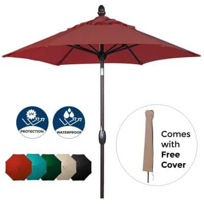 7-1/2 ft. Polyester Patio Umbrella in Red