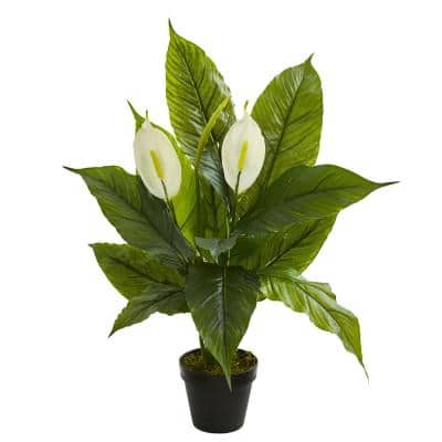 Indoor 26 in. Spathiphyllum Artificial Plant
