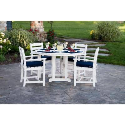 La Casa Cafe Teak All-Weather Plastic Outdoor Dining Arm Chair
