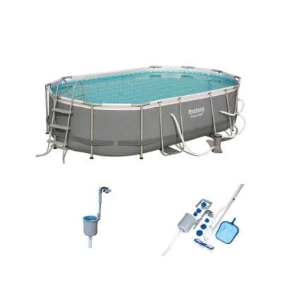 Steel Metal Above Ground Pool Set with Maintenance Kit and Surface Skimmer