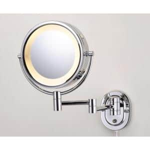 10 in. x 14 in. Lighted Wall Makeup Mirror in Chrome