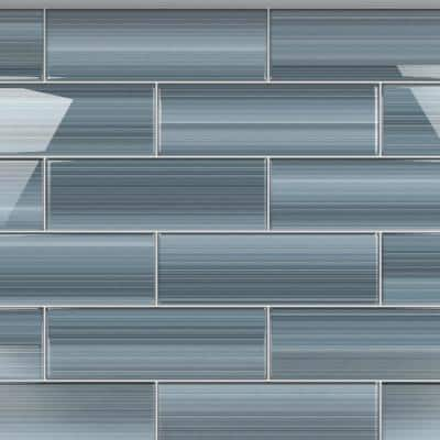 Deep Ocean 4 in. x 12 in. Glass Tile for Kitchen Backsplash and Showers (10 sq. ft./per Box)