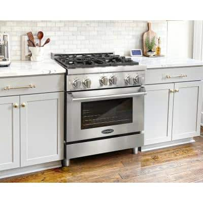 Commercial-Style 30 in. 3.9 cu. ft. Gas Range with 4 Italian Burners and Heavy Duty Cast Iron Grates in Stainless Steel
