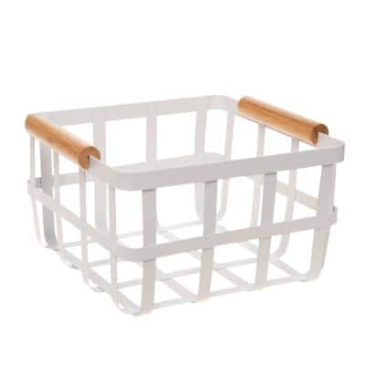 Square Metal Basket 4.8 in. H x 8.72 in. W with Bamboo Handles in White