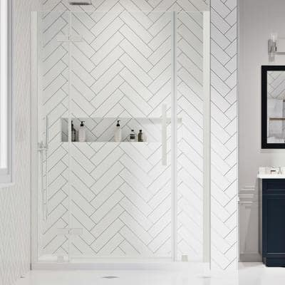 Tampa 54 in. L x 32 in. W x 72 in. H Alcove Shower Kit with Pivot Frameless Shower Door in Nickel and Shower Pan