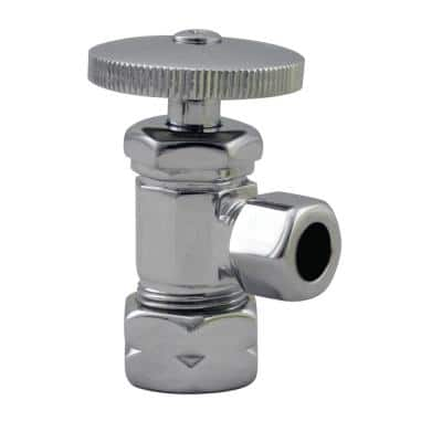 5/8 in. IPS x 3/8 in. O.D. Compression Outlet Angle Stop, Polished Chrome
