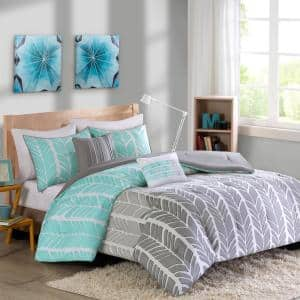 Kennedy 5-Piece Aqua Full/Queen Comforter Set