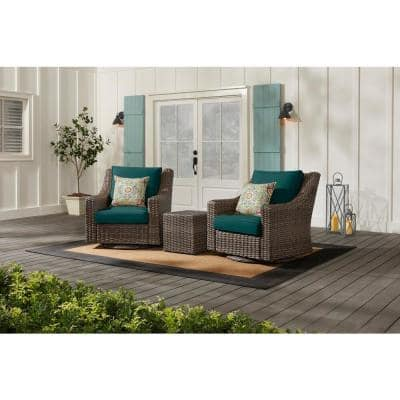 Rock Cliff Brown 3-Piece Wicker Outdoor Patio Seating Set with CushionGuard Malachite Green Cushions