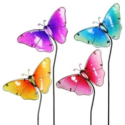 Glass Butterfly Assorted Garden Stake (4-Piece)