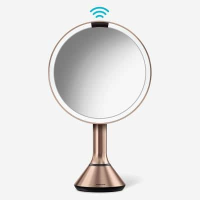 8 in. Lighted Sensor Mirror with Touch Control Brightness, Rose Gold Stainless Steel