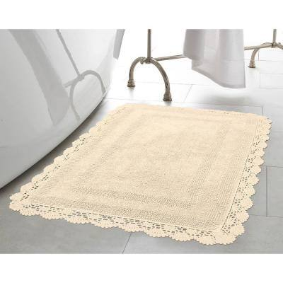 Crochet 17 in. x 24 in. 100% Cotton Bath Rug in Linen