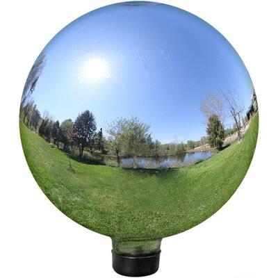 25cm Stainless Steel Sphere Garden Ornament Mirror Silver Finish