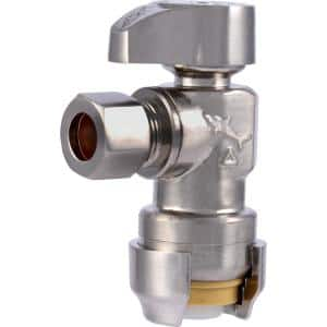 1/2 in. Push to Connect x 3/8 in. O.D. Compression Angle Stop Valve, Brushed Nickel