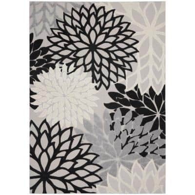 Aloha Black White 8 ft. x 11 ft. Floral Modern Indoor/Outdoor Area Rug