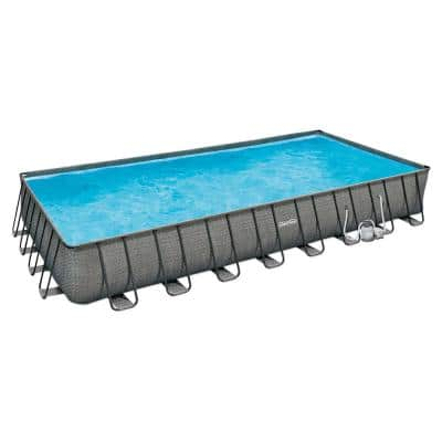 16 ft. x 32 ft. x 52 in. Rectangle Frame 35 in. D Above Ground Swimming Pool Set