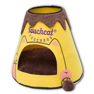 Yellow and Brown Molten Lava Designer Triangular Cat Pet Kitty House Bed