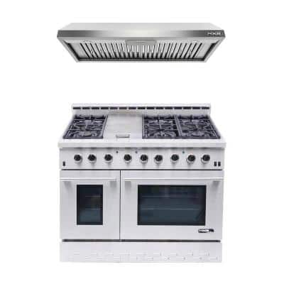 Entree Bundle 48 in. 7.2 cu. ft. Pro-Style Liquid Propane Range Convection Oven Range Hood in Stainless Steel and Black