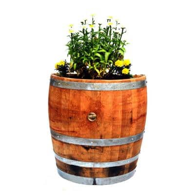 Lacquer Tall 26 in. W x 13 in. D x 27 in. H Quarter Oak Wine Barrel Planter