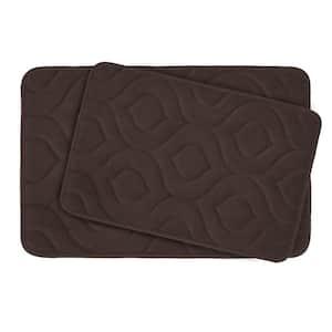 Naoli Espresso 20 in. x 30 in. Memory Foam 2-Piece Bath Mat Set