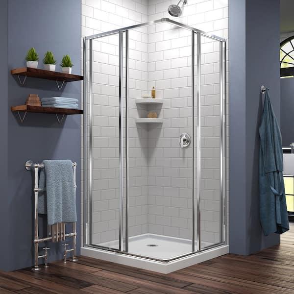 Framed Corner Sliding Shower Enclosure, Corner Shower Glass Doors Home Depot