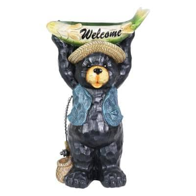 11 in. x 20.5 in. Hand Painted Fisherman Bear Statuary with Welcome Fish Resin Bird Feeder