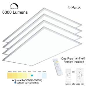2 ft. x 4 ft. White Commercial Integrated LED Dimmable Drop Ceiling Flat Panel Troffer Light (4-Piece)