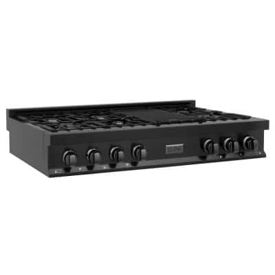 Porcelain 48 in. Gas Stovetop in Black Stainless with 7-Gas Burners and Griddle
