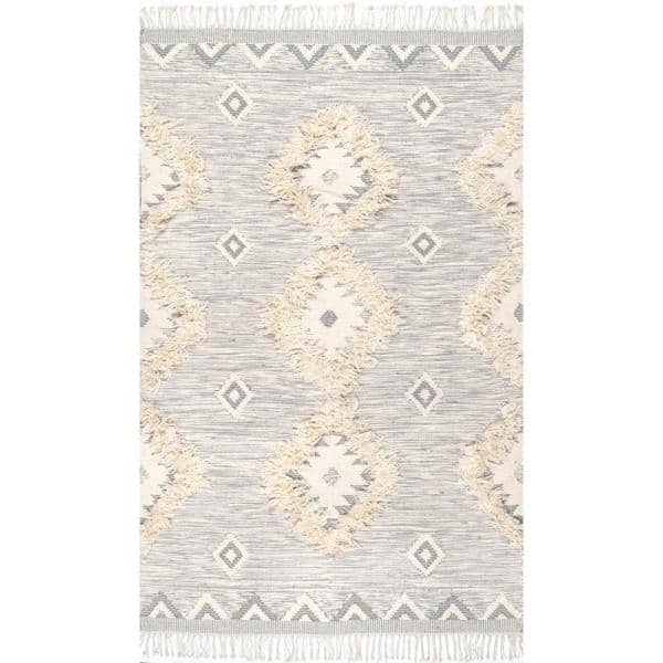Nuloom Savannah Moroccan Fringe Light Gray 5 Ft X 8 Ft Area Rug Spmo01d 508 The Home Depot