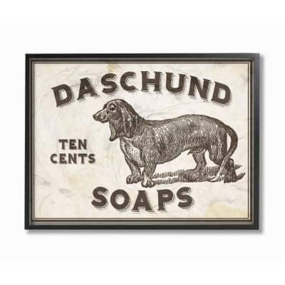 "11 in. x 14 in. ""Dachshund Soap Vintage Sign"" by Daphne Polselli Wood Framed Wall Art"