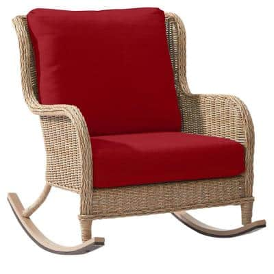 Lemon Grove Wicker Outdoor Patio Rocking Chair with Standard Chili Red Cushions