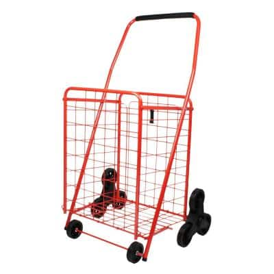 Red Metal Cleaning Cart with Deluxe Shopping Stair Climber