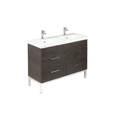 Infinity 48 in. W x 18 in. D Double Bath Vanity in Tuxedo Grey with Ceramic Vanity Top in White