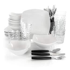 48-Piece Casual White Ceramic Dinnerware Set (Service for 6)