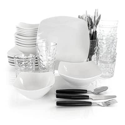 48-Piece Casual White Ceramic Dinnerware Set (Service for 6)