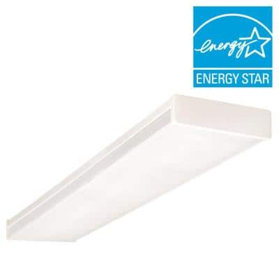 4 ft. White Fluorescent Wraparound Ceiling Fixture with Clear Prismatic Lens