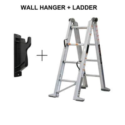 9 ft. H 12 ft. Reach Aluminum Fully Compactable Multi-Position Ladder with Wall Mount 375 lbs. Capacity Type IAA