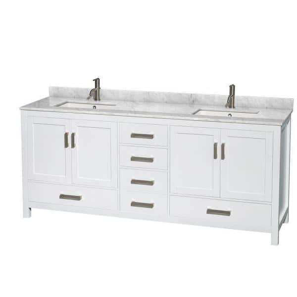 Wyndham Collection Sheffield 80 In Double Vanity In White With Marble Vanity Top In Carrara White Wcs141480dwhcmunsmxx The Home Depot
