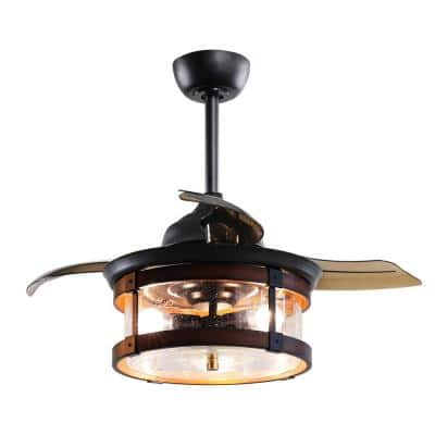 36 in. LED Indoor Oil Rubbed Bronze Retractable Ceiling Fan with Light and Remote Control