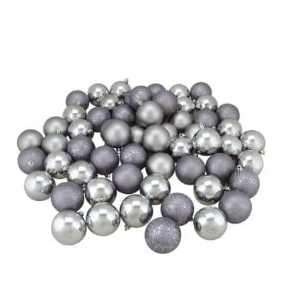 2.5 in. (60 mm) Shatterproof Pewter Gray 4-Finish Christmas Ball Ornaments (60-Count)