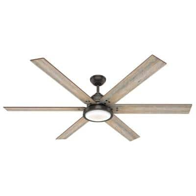Warrant 70 in. LED Indoor Noble Bronze Ceiling Fan with Light and Wall Switch