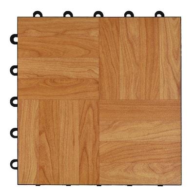 Max Tile 12 in. W x 12 in. L Light Oak Waterproof Interlocking Modular Basement Vinyl Floor Tiles (20 sq. ft. 20-Pack)