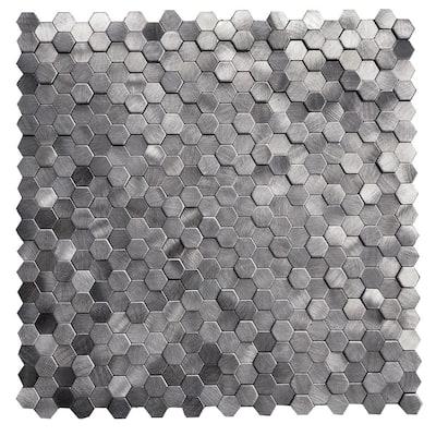 DIP Mini Pewter Hex Tile 12 in. x 12 in. Self-Adhesive PVC Backsplash (10 pack)