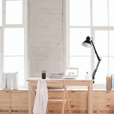 32 in. Black Vintage Swing Arm Desk Lamp with Metal Clamp