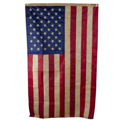 3 ft. x 5 ft. Patriotic Tea-Stained Embroidered American Flag with Grommets
